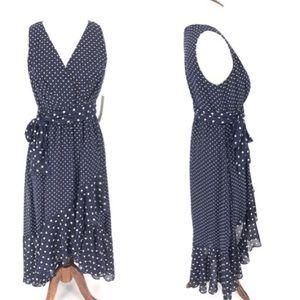 Eliza J Faux Wrap Dress Hi Lo Navy Polka Dot
